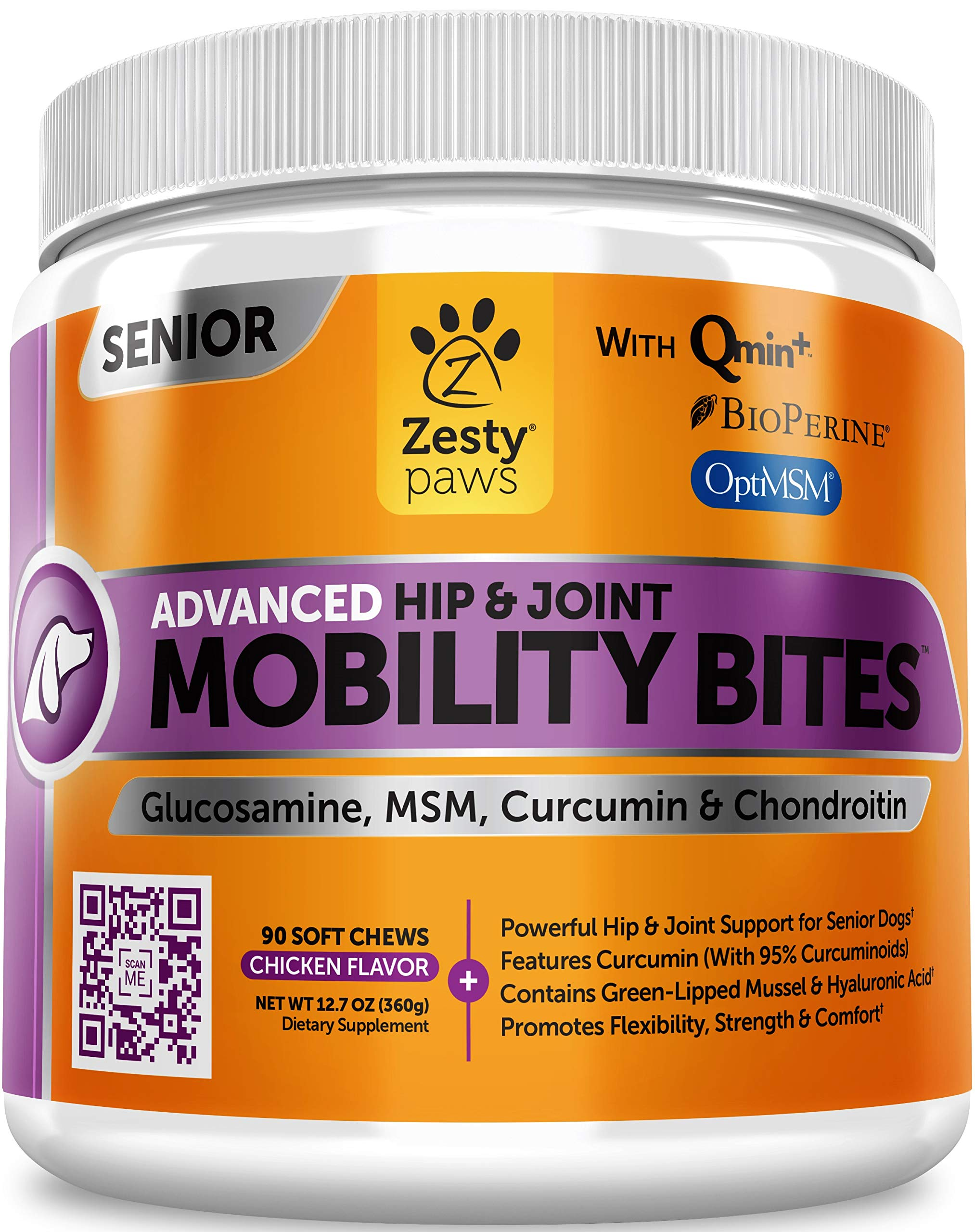 Senior Advanced Glucosamine for Dogs - For Hip & Joint Arthritis Pain Relief - Chondroitin, Turmeric Curcumin & MSM - Mobility Supplement with Green Lipped Mussel & Hyaluronic Acid - 90 Chew Treats by Zesty Paws