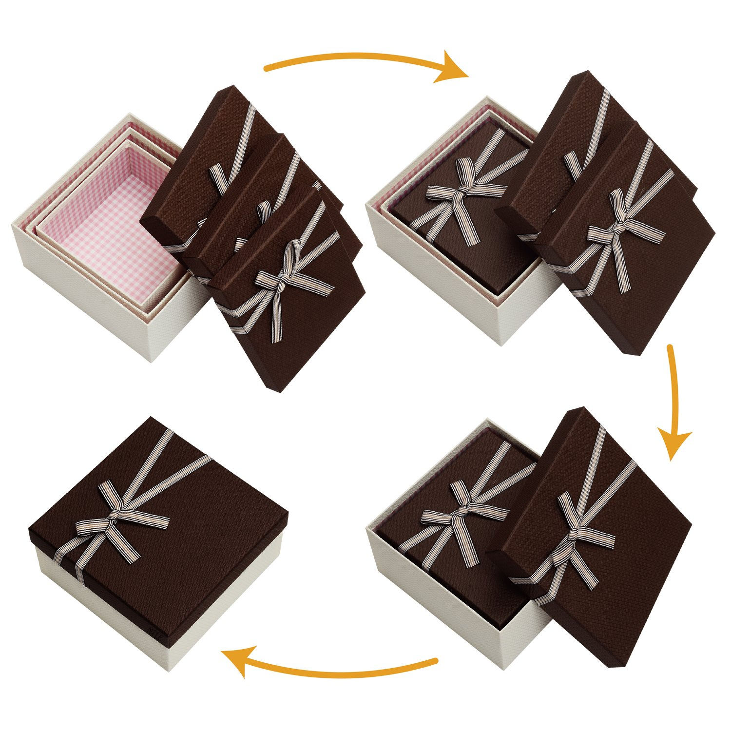 Square Nesting Gift Boxes, A Set of 3,Brown Color with A Bowtie by Ikee Design (Image #3)