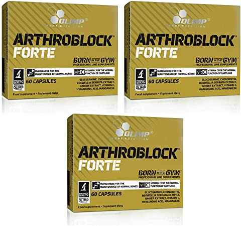 Gold ARTHROBLOCK Forte - Cartilages Bones & Joints Health Support - Food Supplement for Flexibility and Mobility (180 Capsules)