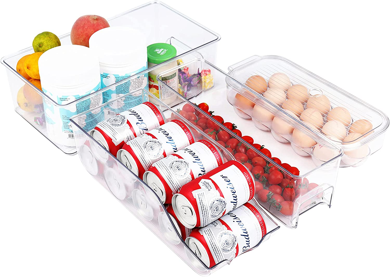 4 Pack PET Material Clear Refrigerator Organizer Bins BPA Free Recyclable and ECO friendly, Fridge bins Egg Holding Tray Soda Can Organizer Food Storage Containers for Pantry Kitchen, Cabinet, Freezer