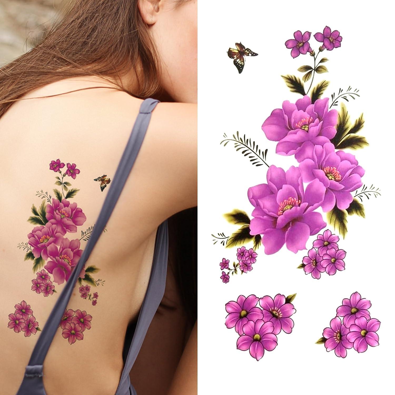 Oottati Tatuajes Temporales Mujer Flor Púrpura (2 hojas): Amazon ...