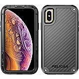 Pelican Shield iPhone Xs 手机壳 Kevlar 品牌纤维(也适用于 iPhone X)C37140-001B-BKBK 黑色