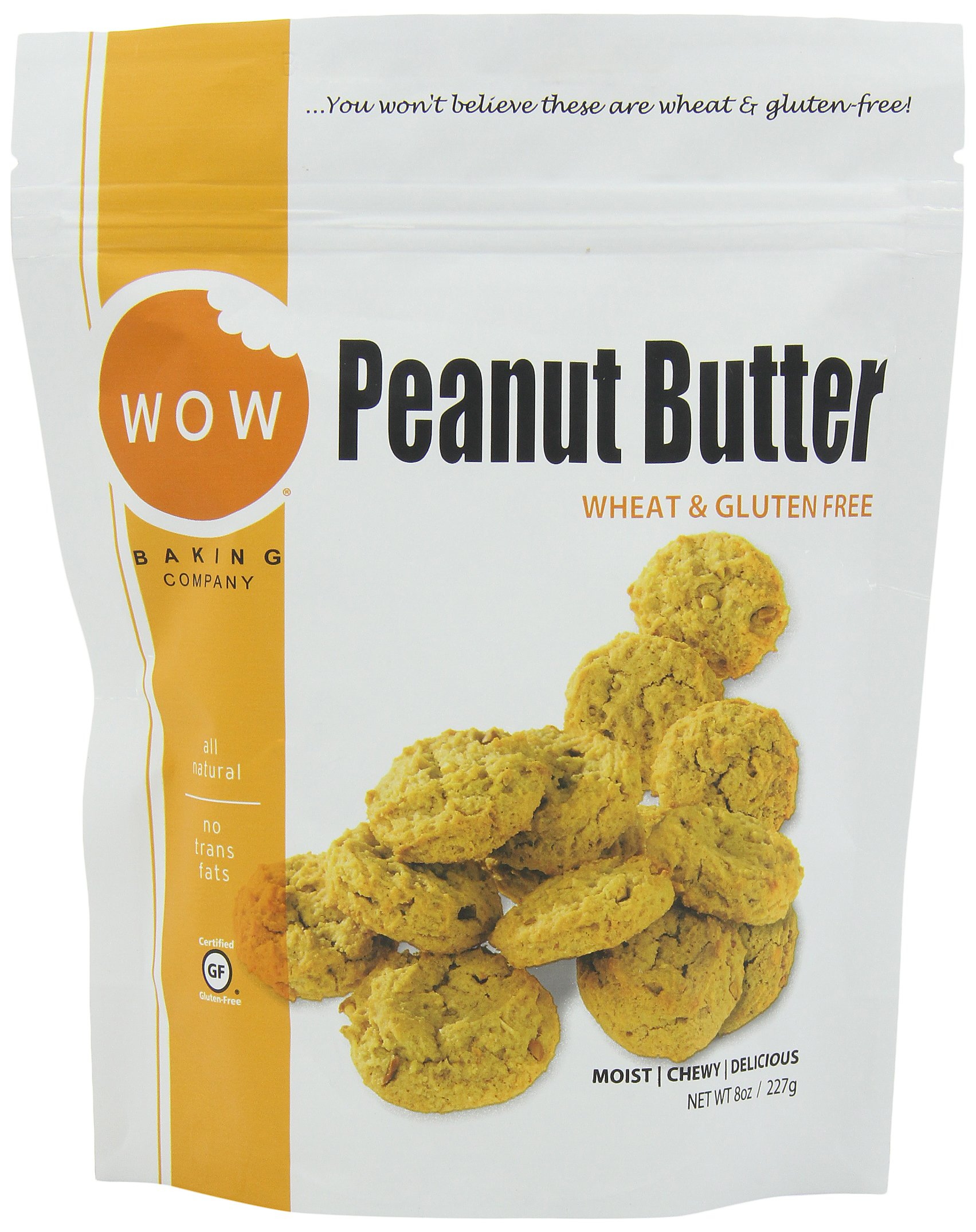 WOW BAKING COMPANY Cookies, Peanut Butter, 8-Ounce (Pack of 6)
