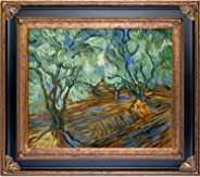 overstockArt Olive Tree Framed Oil Reproduction of an Original Painting by Vincent Van Gogh, Corinthian Frame, Black and Gol