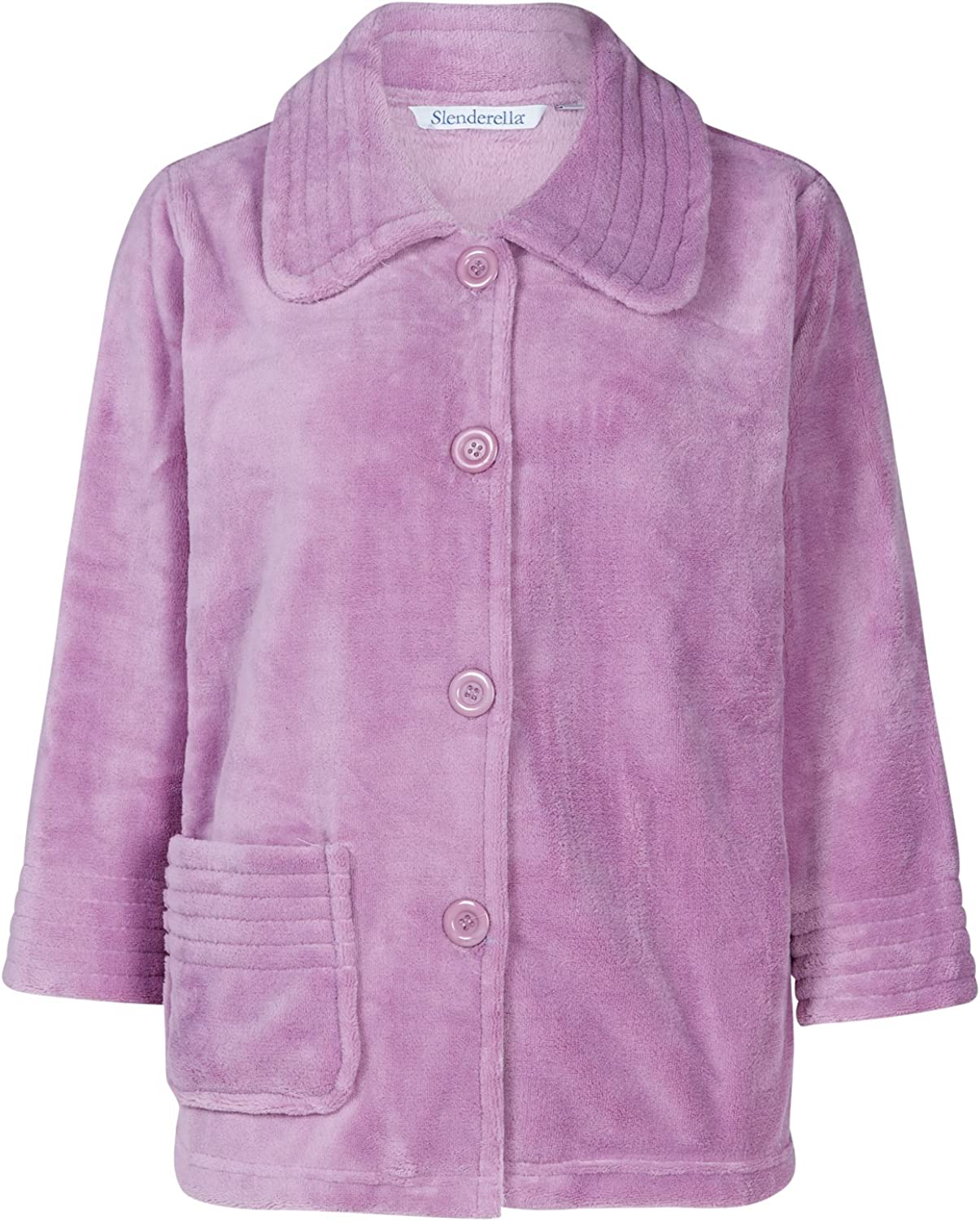 Small - XXL Slenderella Womens Button Up Soft Fleece Bed Jacket Housecoat with Pocket