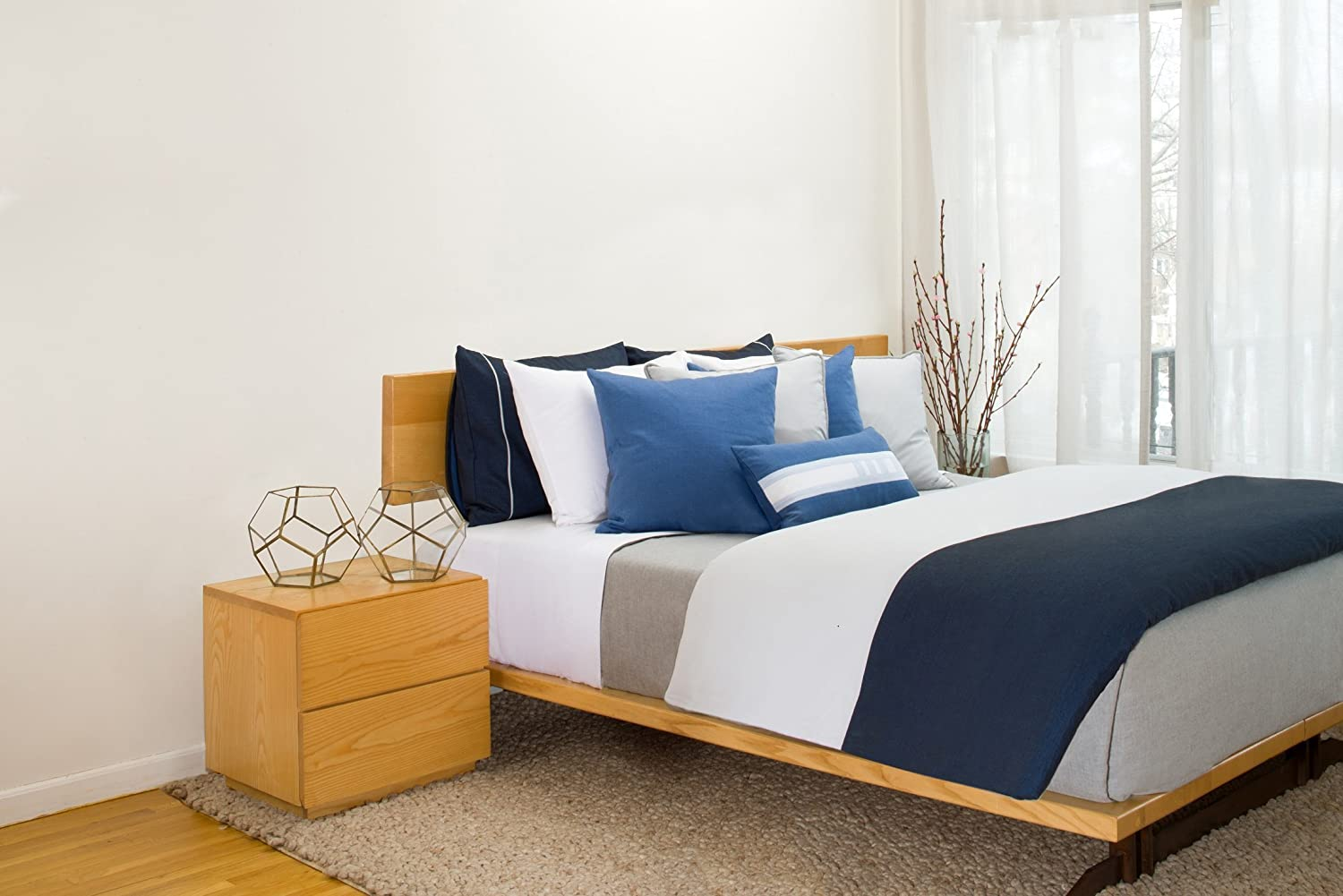 Image of 2 threads Duvet Cover in Navy and Gray