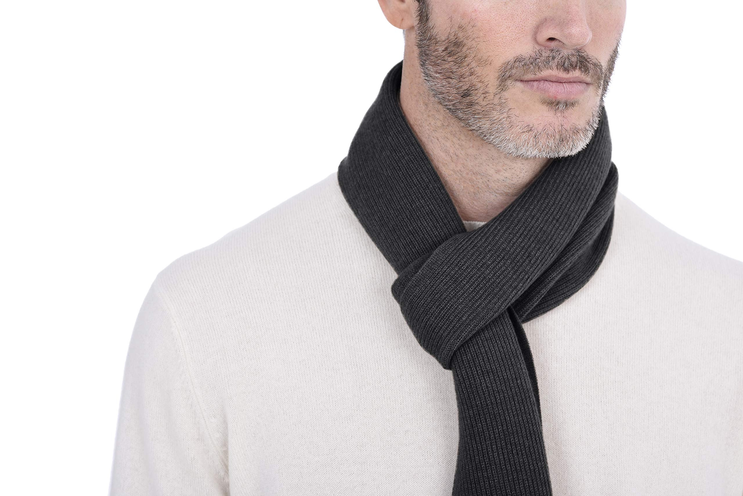 Cashmeren Men's 100% Cashmere Solid Color Winter Wrap Scarf, Ultimate Soft and Cozy 70'' x 7'' (Charcoal, One Size)