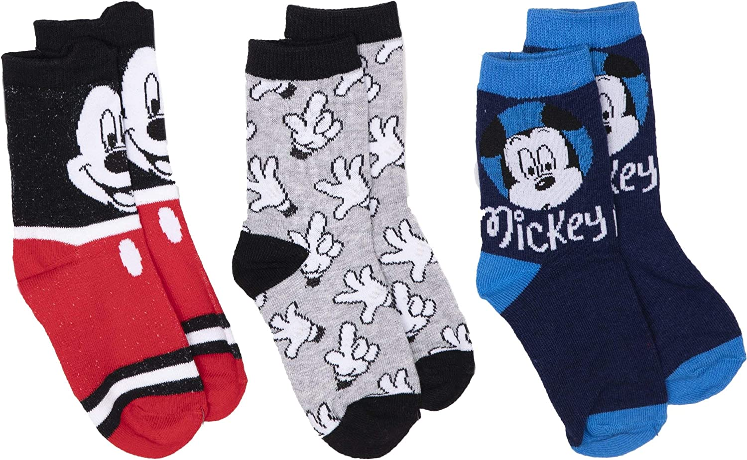 Official Disney Mickey Mouse Licensed Boys Crew Calf Trainer Sport Socks Set 3-Pack 70/% Cotton Rich Sizes from 6 Child