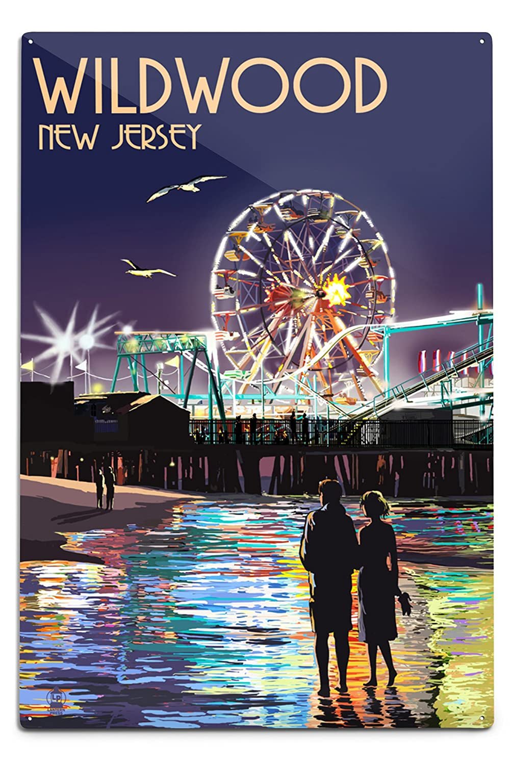Wildwood、新しいジャージー – Pier and Rides at Night 12 x 18 Metal Sign LANT-44695-12x18M B06XZZK1L4  12 x 18 Metal Sign