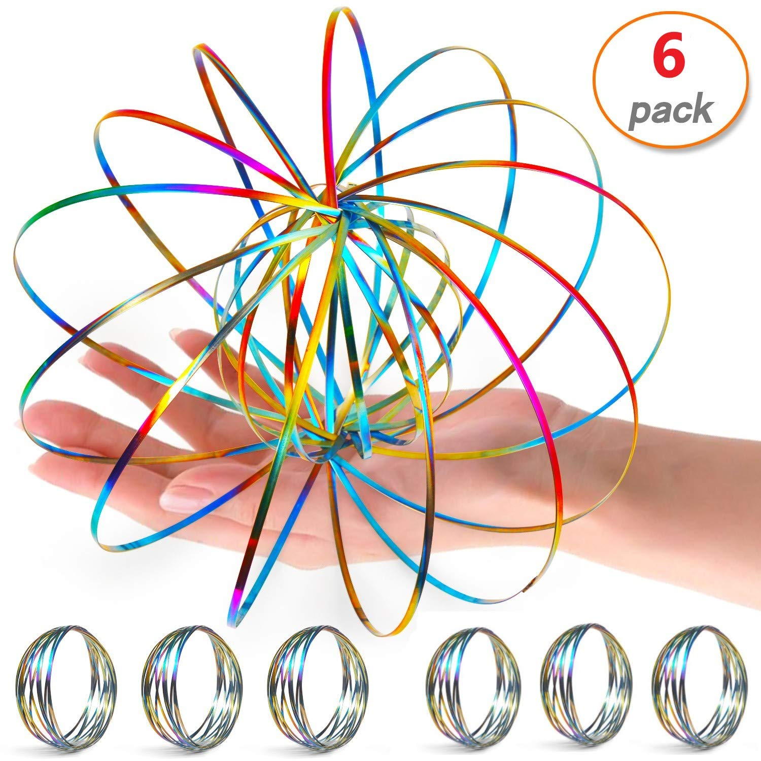 6 Pack Flow Ring Arm Magic Spring Arm Flow Rings Sculpture Ring Game Toy Colored Magic Kinetic Spring Interactive Stress Relief Toy Festival Accessories