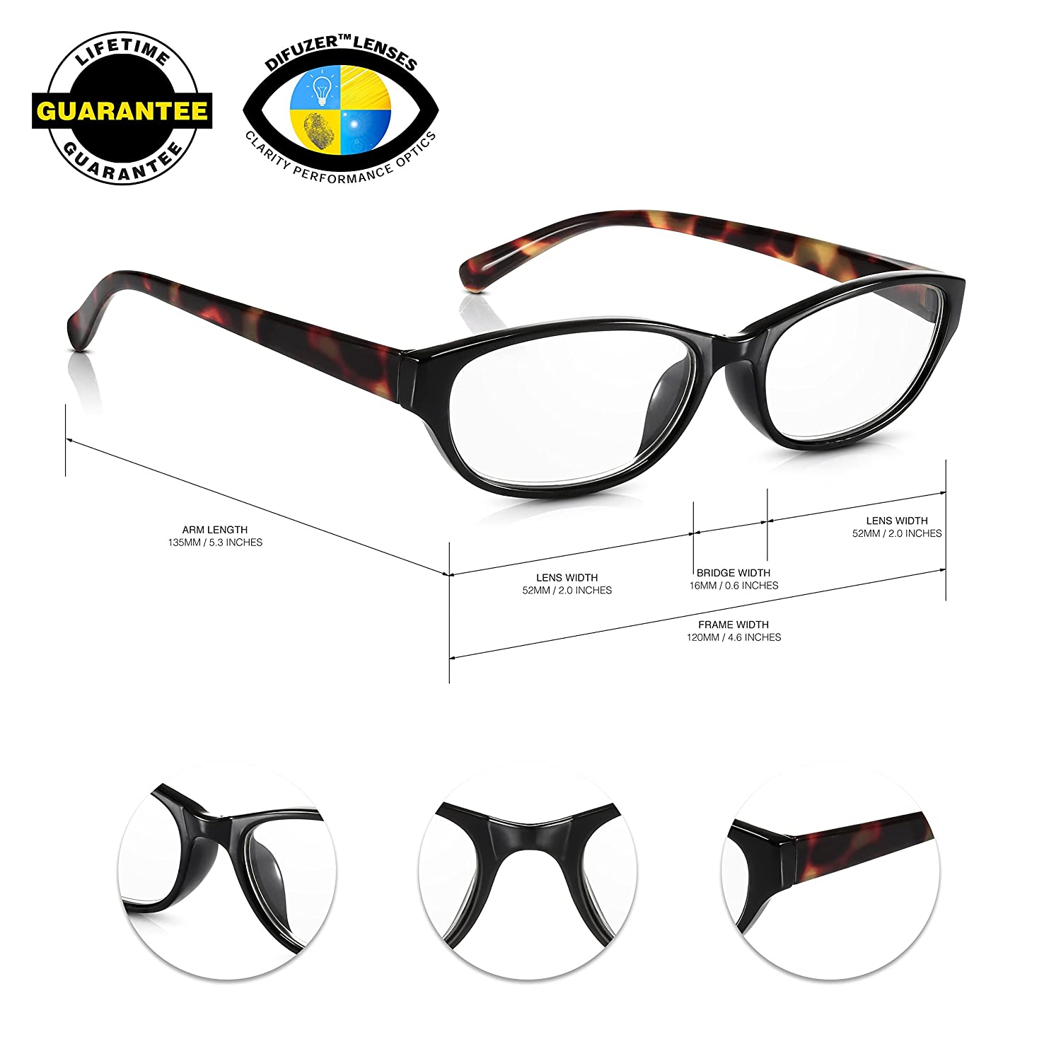 20.20 Womens Easy Reader Spectacles in Brown Tortoiseshell Read ...