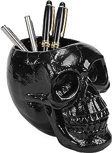 MyGift Black Skull Resin Pen & Pencil Holder/Halloween Decorative Skeleton Head Stationery Desktop Organizer