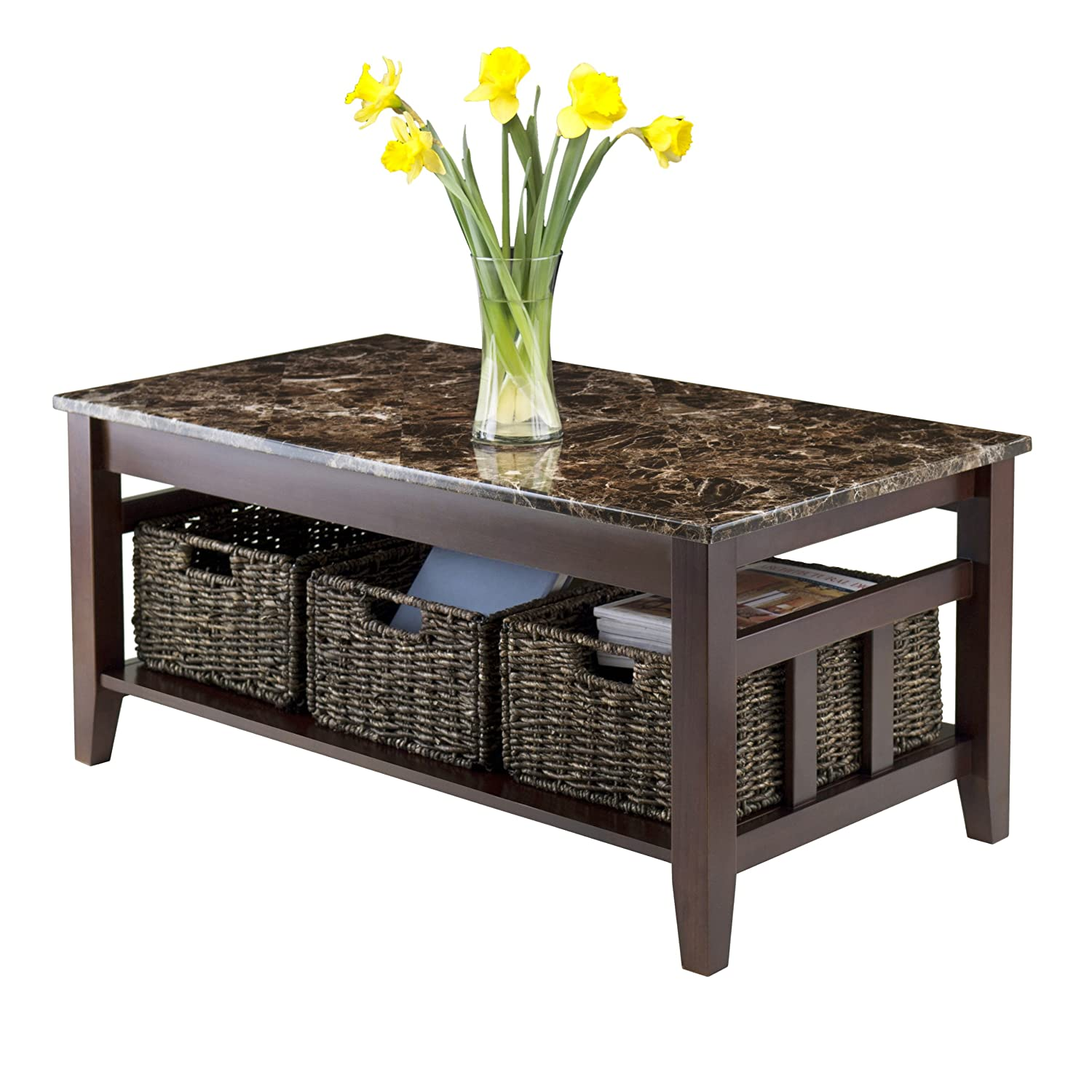Amazon Winsome Wood Faux Marble Top Zoey Coffee Table