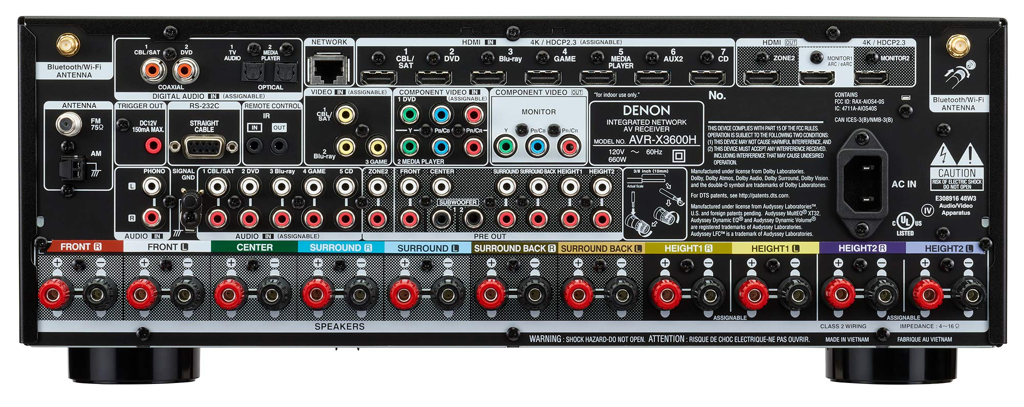 Denon AVR-X3600H UHD AV Receiver | 2019 Model | 9 2 Channel, 105W Each |  NEW Virtual Height Elevation, Dual Subwoofer Outputs | Home Automation