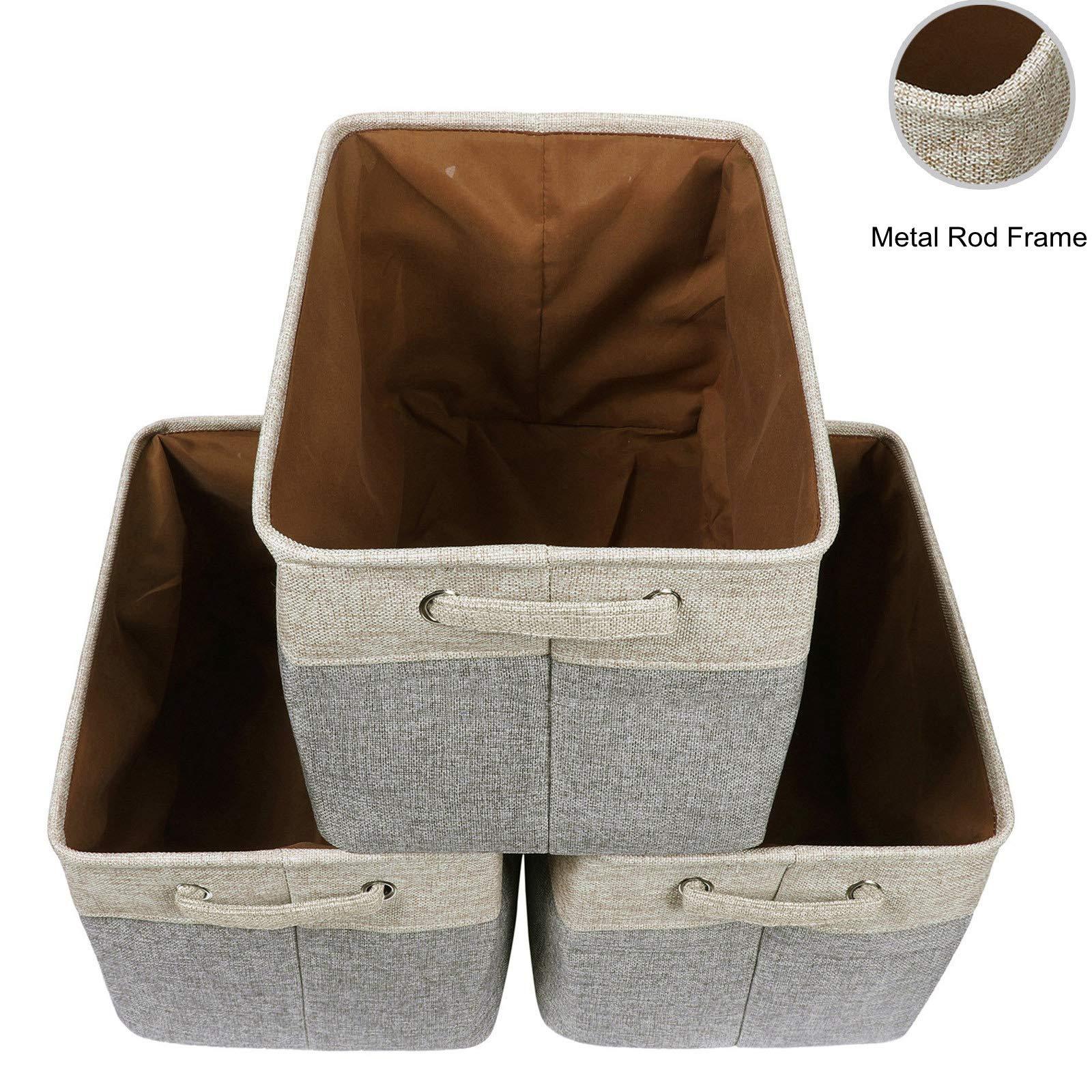 Foldable Linen Canvas Storage Baskets - Storage Large Basket Set 3pack Carry Handles Bins Organizer, for Nursery Home Shelves and Office (Khaki/Gray, 15''L x 10.6'' W x 9.4'' H)
