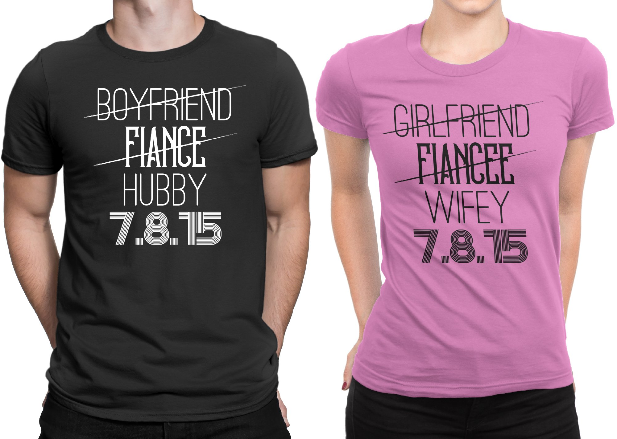 Hubby Wifey Newly Married Couple Matching T-shirt Honeymoon valentines Day Men X-Large / Women Small | Black - Pink