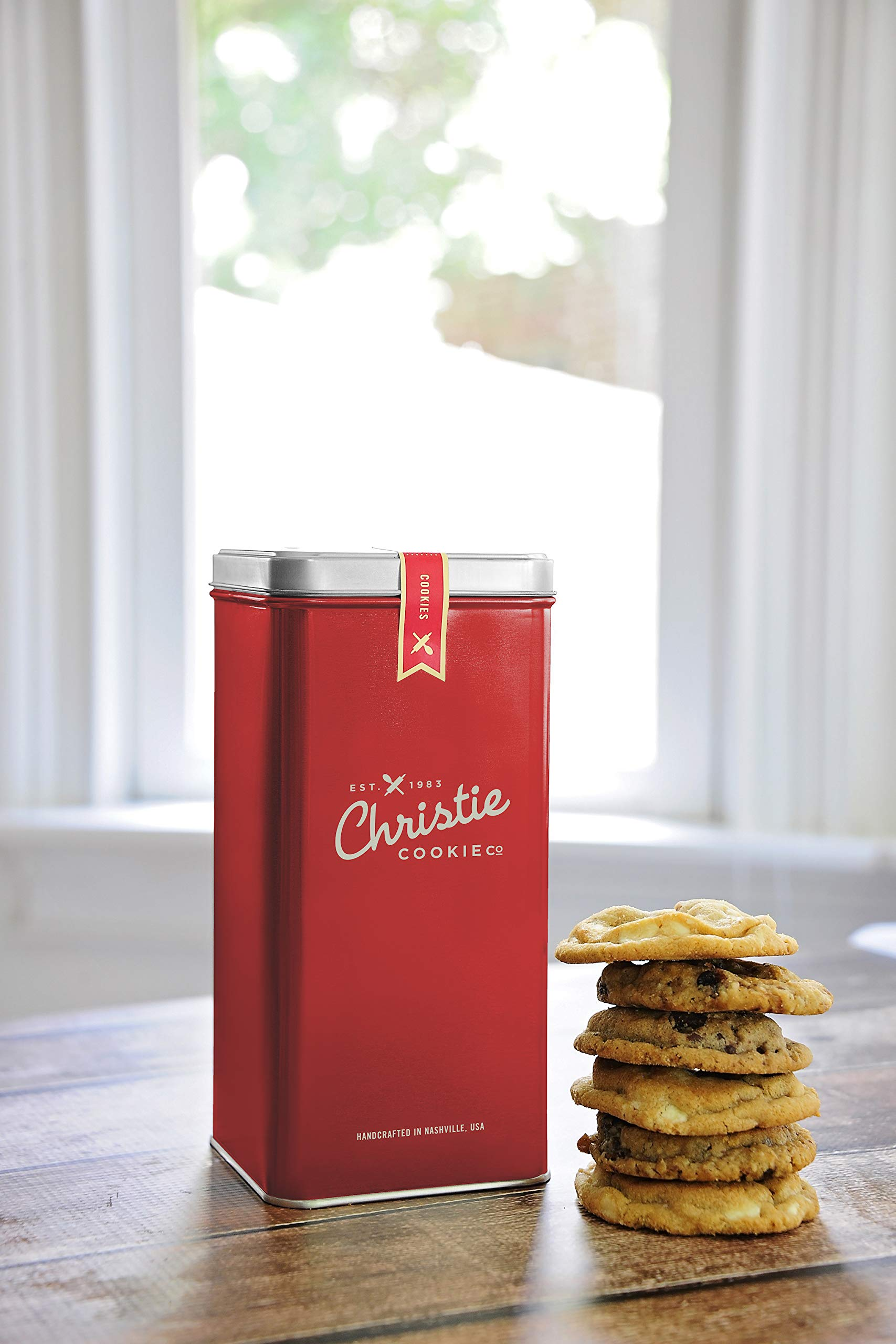 Christie Cookies, Gourmet Assorted Cookies, 12 Fresh-Baked Cookies in Red Tin, No Added Preservatives, 100% Real Butter, Holiday & Corporate Gift Tin, Birthday Gift Idea for Men & Women by Christie Cookie Co. (Image #1)