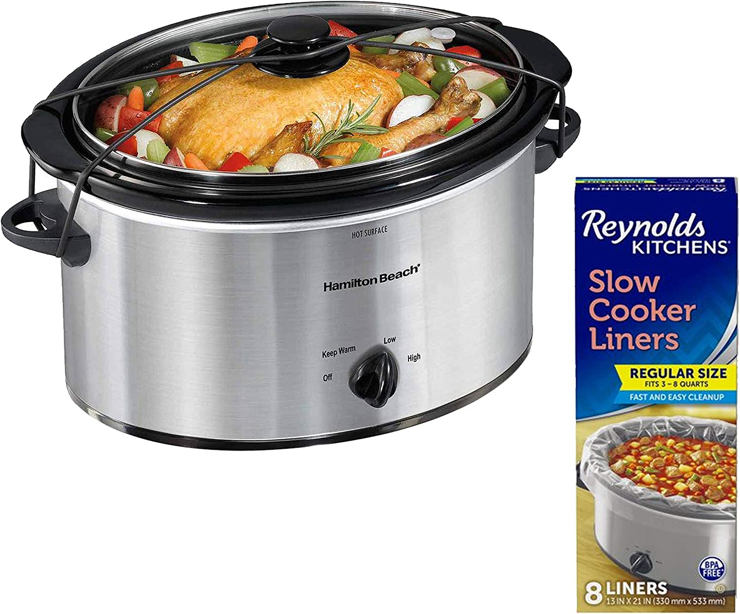 Hamilton Beach Portable 5 Quart Slow Cooker with Lid Latch Strap, Silver bundle with Reynolds Kitchens Slow Cooker Liners, 13 Inches by 21 Inches, 8 Count