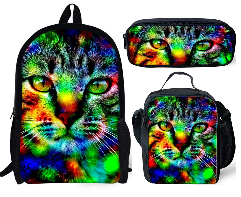 Backpack Cat Print Lunch Bag Pencil Bag Student Book Bag Set for Girl School Teen Children Travel Daypack 1