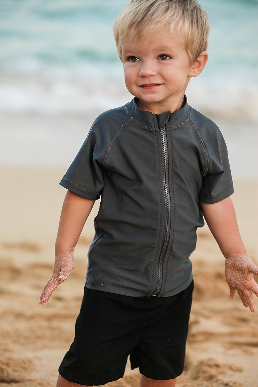 Wave Cruiser-Boy Short Sleeve SPF Zipper Rash Guard by SwimZip