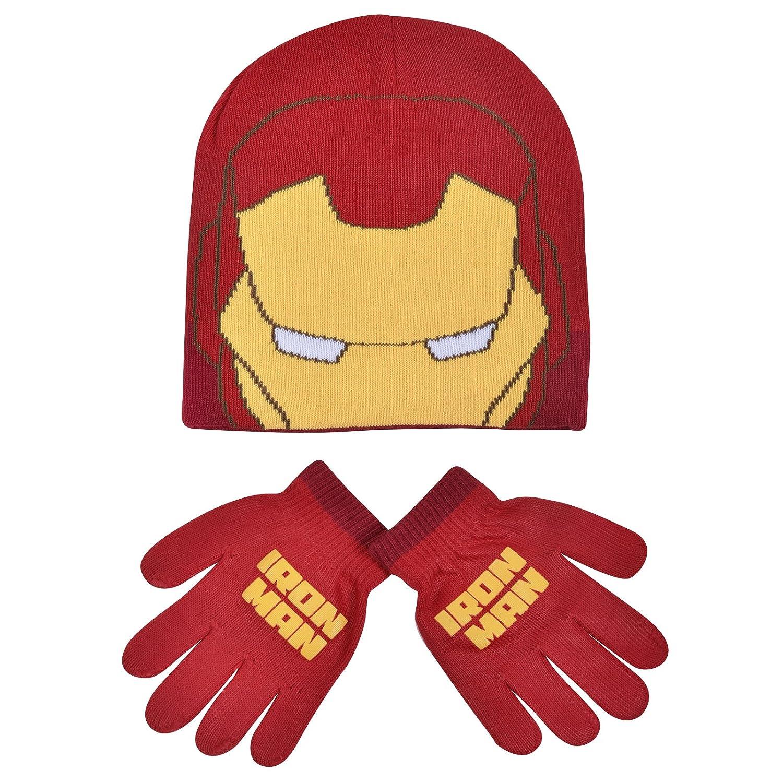 Boys Marvel Iron Man Childrens Winter Beanie Hat & Gloves Official Set 54800
