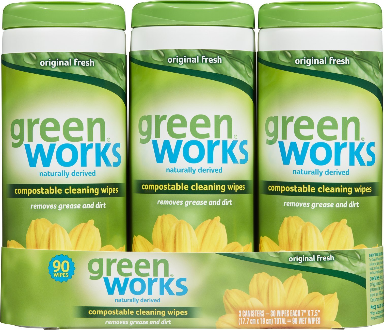Green Works Compostable Cleaning Wipes, Biodegradable Cleaning Wipes - Original Fresh, 30 Count Each (Pack of 3)