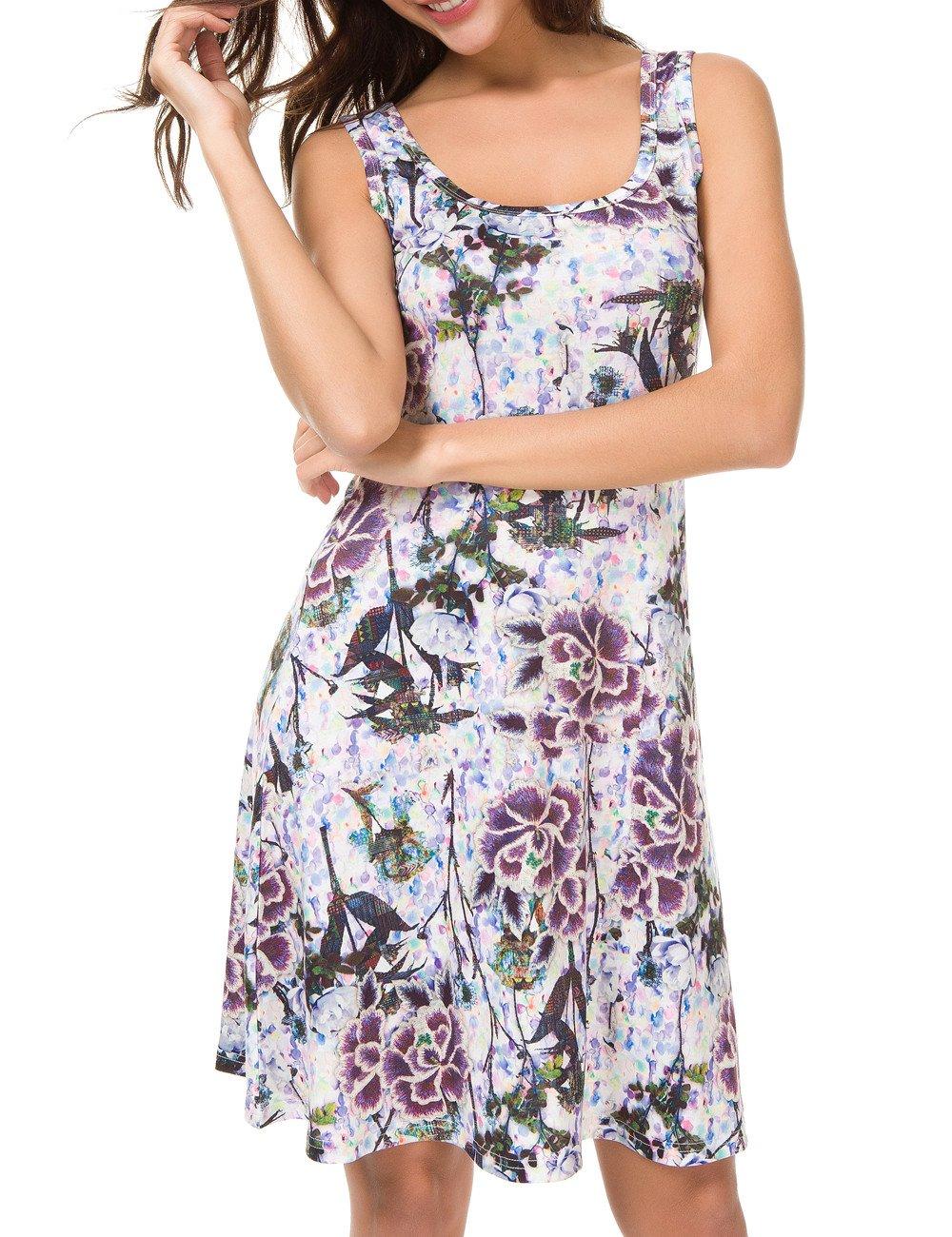 0475da2bd7da Galleon - Herou Women Sleeveless Beach Casual Flared Floral Tank Dress (XX- Large, Flower-34)