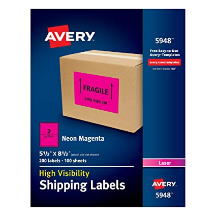 Amazon Avery High Visibility Neon Magenta Shipping Labels For
