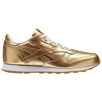 Reebok Girls  Classic Leather Metallic Running Shoes Silver  Amazon ... a00a0121b