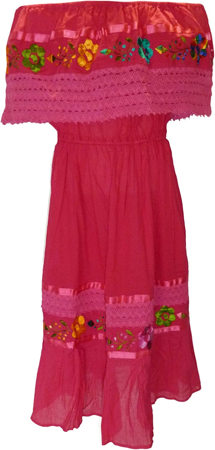 Embroidered Campesino fucsia dress for 3-4 years old baby girl