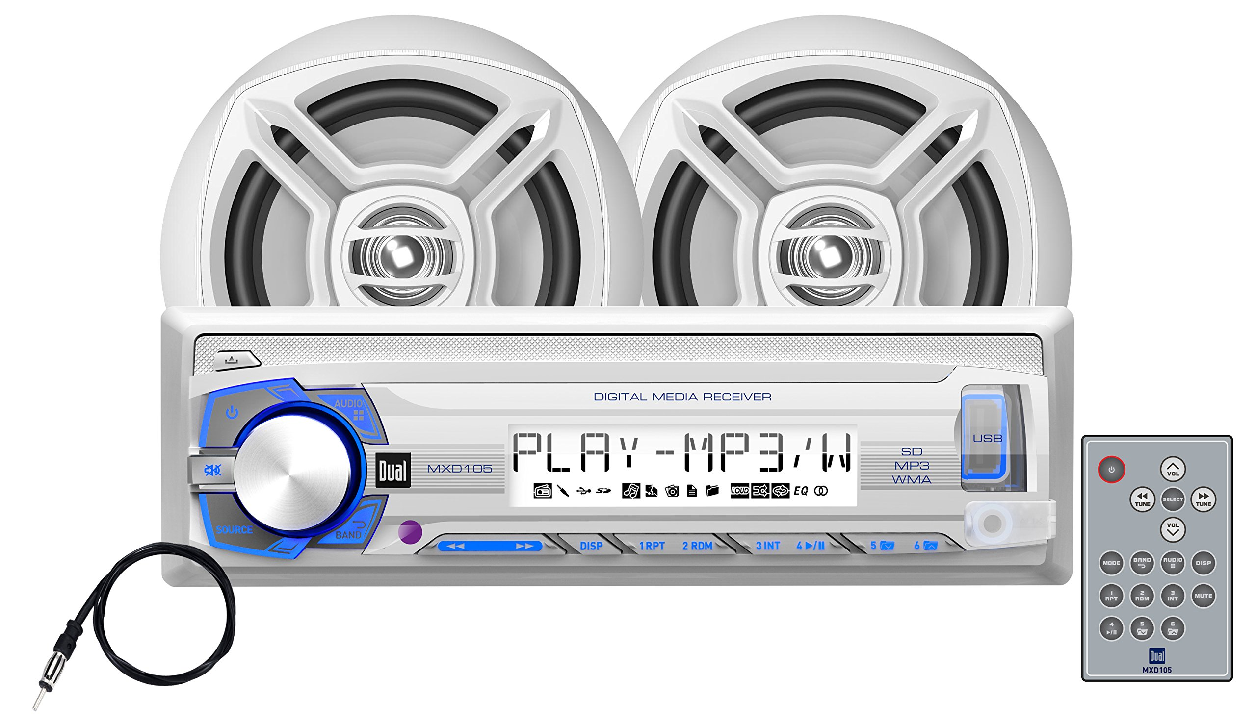 Dual Electronics MCP103 Multimedia Detachable Single DIN Marine Stereo with Built-in USB & SD Card Ports, Two 6.5 inch Dual Cone High Performance Marine Speakers & Long Range Marine Antenna