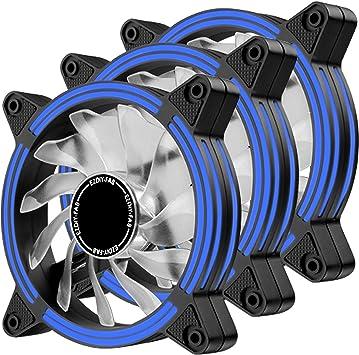 EZDIY-FAB Ventilador LED de 120 mm,Ventilador de Caja de Doble Marco LED para Cajas de PC,silencioso de Alto Flujo de Aire,enfriadores de CPU y radiadores,Azul 3-Pin-3-Pack: Amazon.es: Electrónica