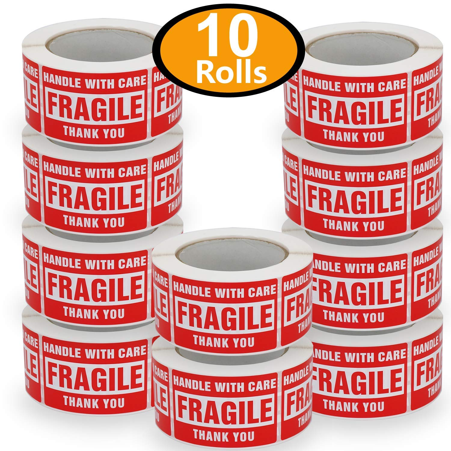 10 Rolls/5000 Labels,Handle with Care-Fragile-Thank You, Red Warning Shipping Label Stickers (2'' x 3'') by BETCKEY