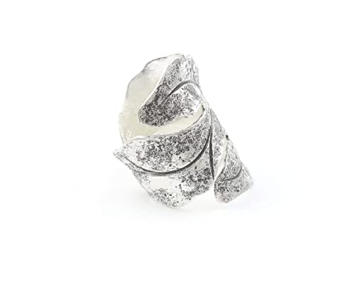 Sterling Silver Feather Ring Organic Bohemian Large Statement Piece Boho