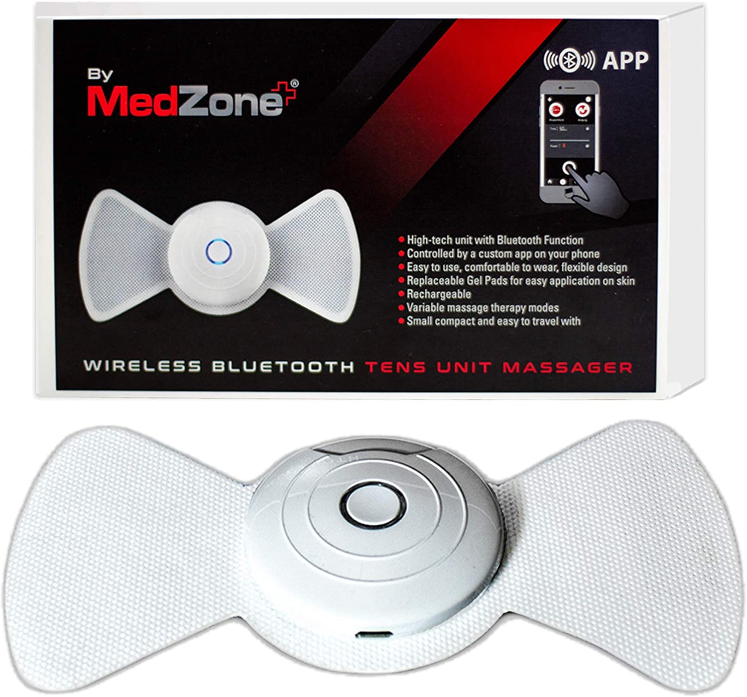 Wireless Tens Unit Rechargeable - Wireless Tens Unit for Back Pain Relief - Bluetooth Tens Unit by MedZone