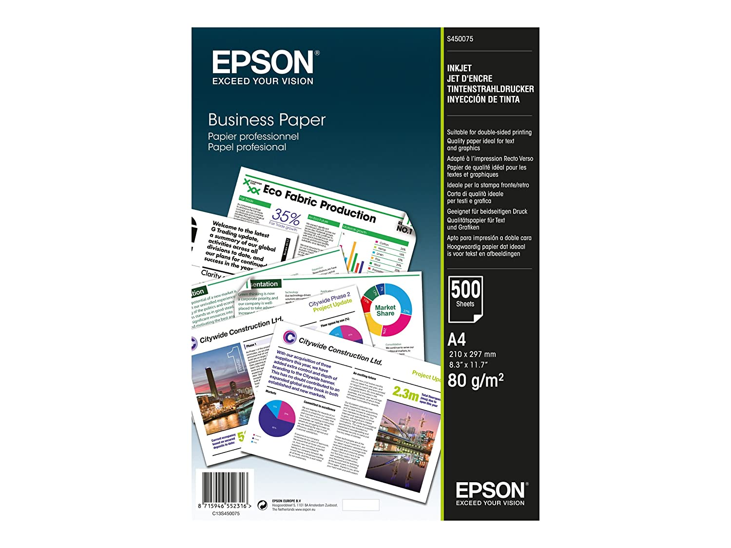 Epson A4 Business Plain Paper Pack Of 500 Office Tinta 680 Colour Products