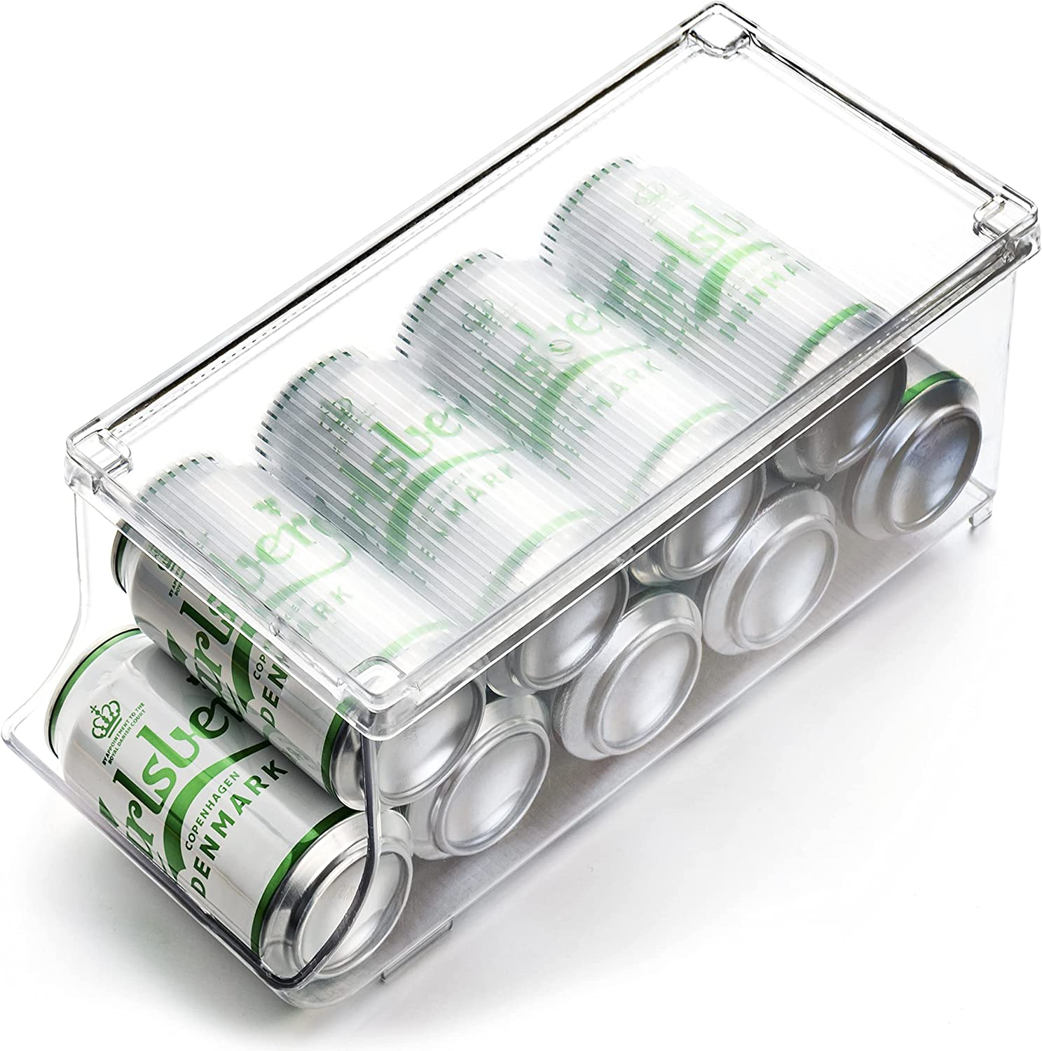 Set of 1- JinaMart Refrigerator Organizer Bin Pop Soda Can Beverage Holder for Fridge, Kitchen, Countertops, Cabinets, Clear Plastic Can Dispenser and Canned Food Pantry Storage Rack(With Lid)