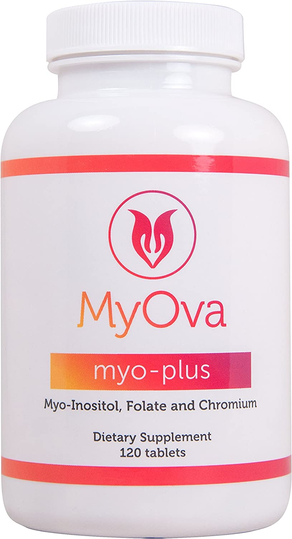 MyOva Myo-Plus Natural myo-inositol Supplement with 4000mg Myo Inositol + 200ug Folate + 100ug Chromium - Promotes hormonal Balance & Normal Ovarian Function - 120 Tablets - Made in The USA