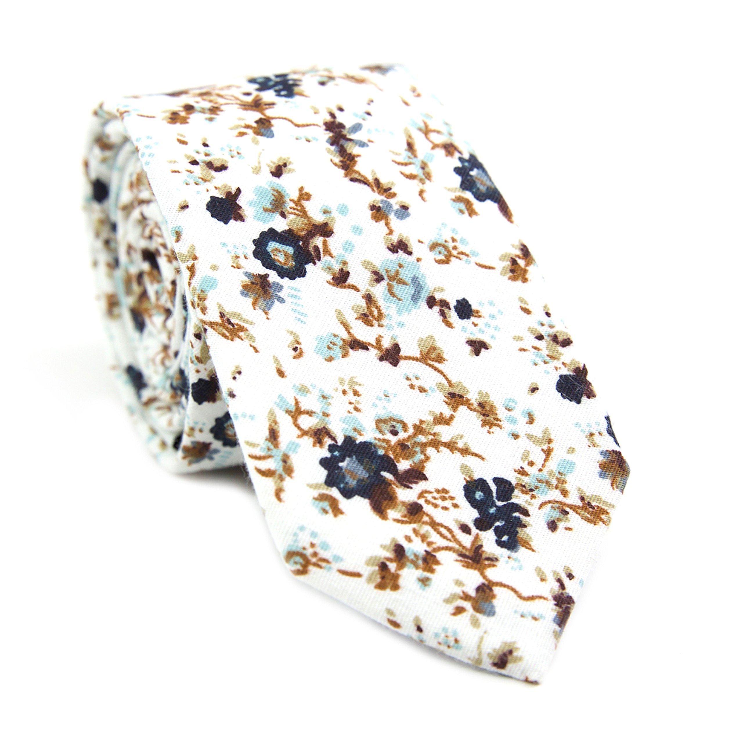 DAZI Men's Skinny Tie Floral Print Cotton Necktie, Great for Weddings, Groom, Groomsmen, Missions, Dances, Gifts. (Blue Bloom)