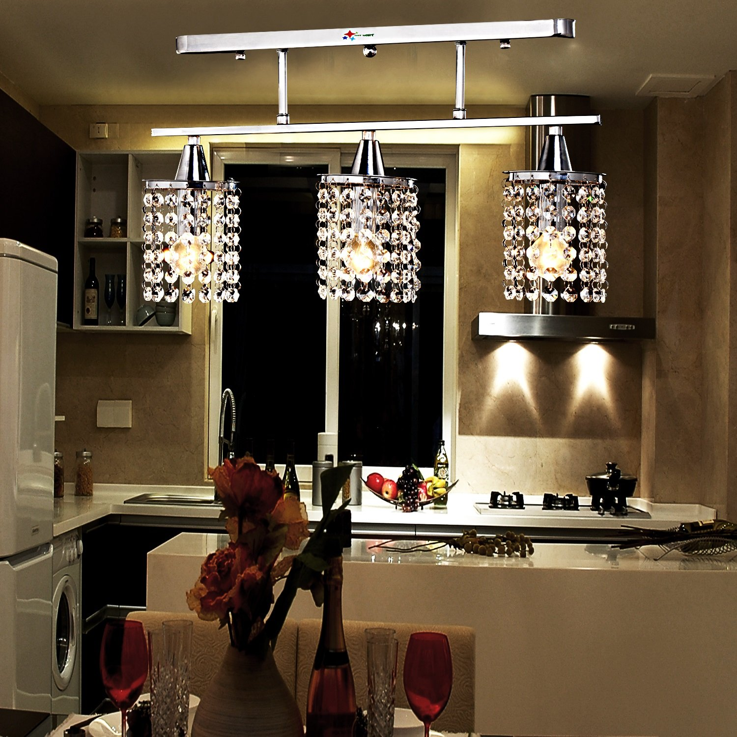Linear Dining Room Lighting Oofay Light 3 Lights Hanging Crystal Linear Chandelier With Solid