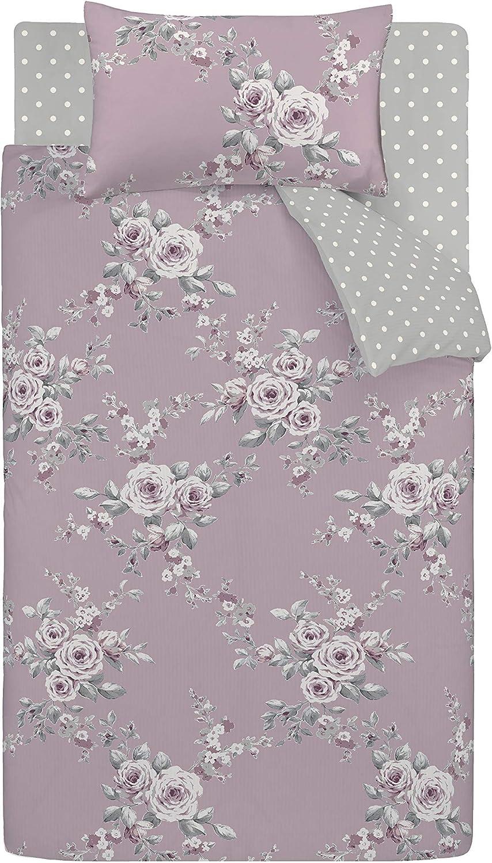 Catherine Lansfield Canterbury Bettbezug Kissenbezug f/ür Bett mit 90 cm Baumwolle 50 x 110 cm Flieder 160 x 220