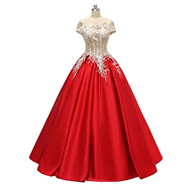 King\'s Love Ivory and Red Wedding Dresses 2018 Satin Long Wedding ...