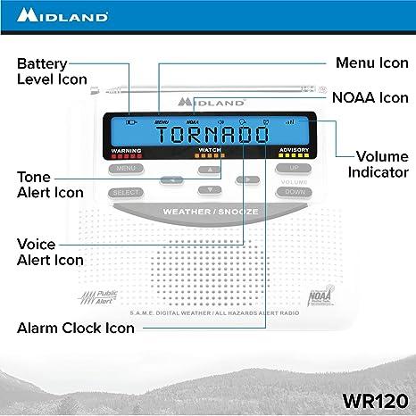 Midland - WR120B/WR120EZ - NOAA Emergency Weather Alert Radio - SAME  Localized Programming, Trilingual Display, 60+ Emergency Alerts, & Alarm  Clock