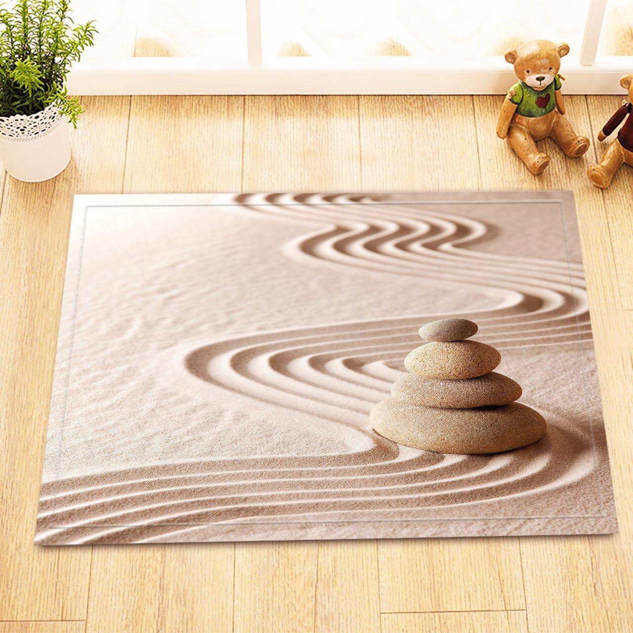 LB Jardín japonés Zen arena textura impresión de piedra pequeña alfombra para baño, seguro antideslizante parte trasera cómoda superficie suave, relajante Asia Zen meditación Spa temática decoración 15 x 23 pulgadas: Amazon.es: