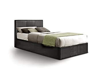 Ottoman Single Storage Bed Upholstered in Faux Leather 3 ft