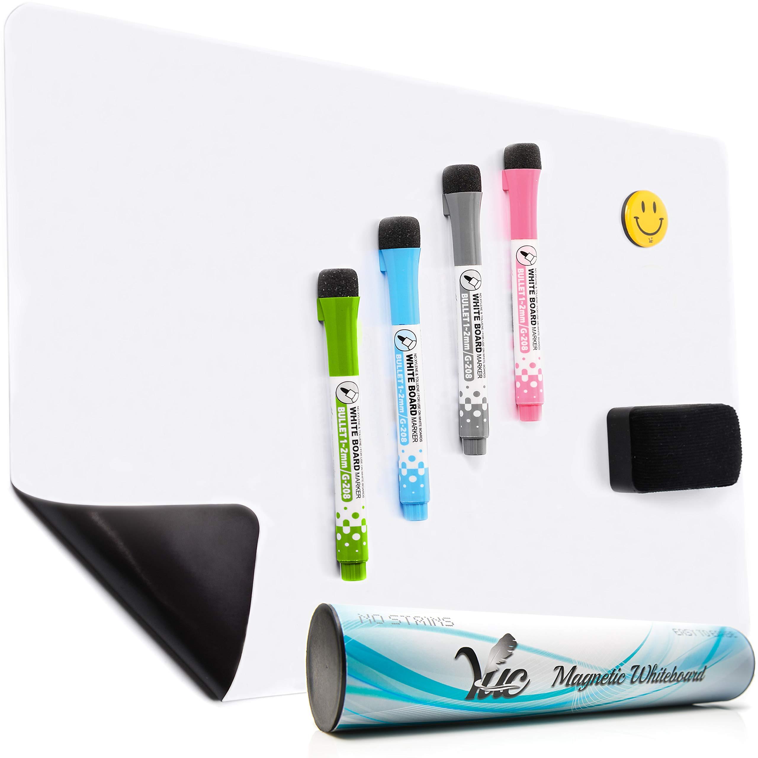 Magnetic Dry Erase White Board for Fridge, Magnetic Whiteboard for Refrigerator, Kitchen Whiteboard, Dry Erase Reminder Board (17x11) Three Sizes