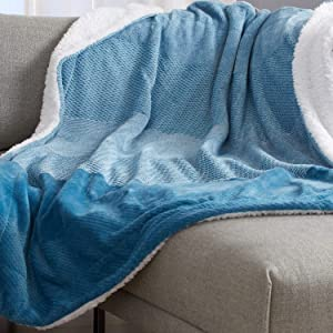 Sherpa and Fleece Velvet Plush Blanket. Fuzzy, Soft, Cozy Warm Blanket for Winter. Patterned Reversible Berber Fleece Blanket. Allura Sherpa Collection (Throw, Blue)