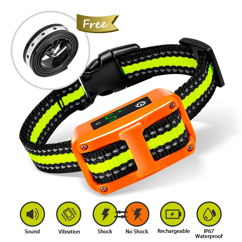 [Newest 2019]Dog Bark Collar-5 Adjustable Sensitivity and Intensity Levels-Dual Anti-Barking Modes-Rechargeable/Rainproof/Reflective -No Barking Control Dog shock Collar for Small Medium Large Dog