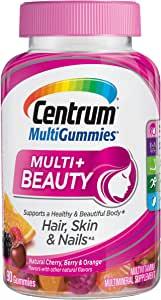 Centrum Multi + Beauty Gummy Multivitamin For Women, Hair Skin and Nails Vitamins with Antioxidants and Vitamins D3 and B , Cherry/Berry/Orange Flavors - 90 Count