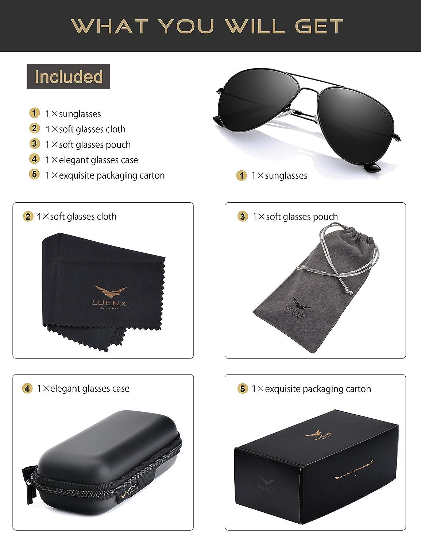 7166d3e256bf52 LUENX Homme lunettes de soleil - UV 400 protection 60 mm - Noir - L   Amazon.fr  Vêtements et accessoires